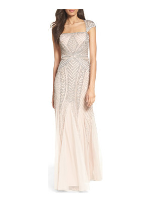 Adrianna Papell envelope embellished mesh gown