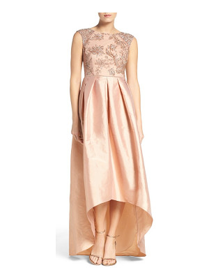 Adrianna Papell floral beaded taffeta high/low gown