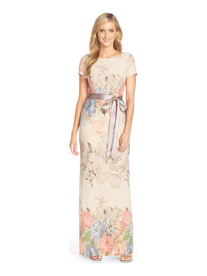 ADRIANNA PAPELL Matelasse Floral Jacquard Column Gown