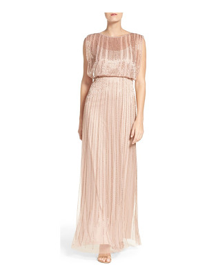 Adrianna Papell petite   beaded mesh blouson gown