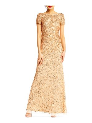 ADRIANNA PAPELL Sequin Cowl Back Gown