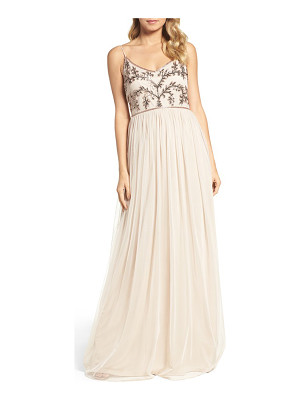 Adrianna Papell spaghetti strap embroidered bodice gown