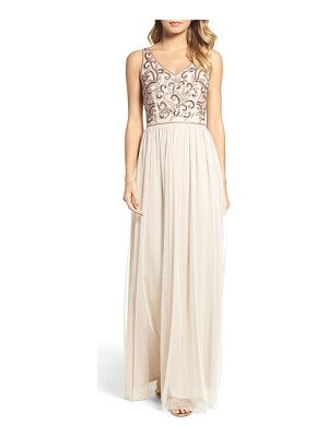 Adrianna Papell v-neck embroidered bodice gown