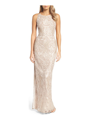 Aidan Mattox embellished lace column gown