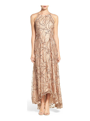Aidan Mattox sequin embroidered lace & silk gown