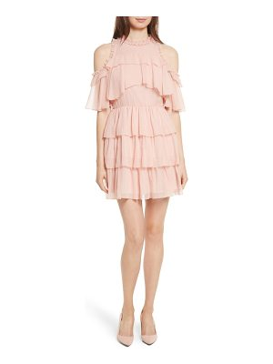 ALICE + OLIVIA Nichola Cold Shoulder Ruffle Silk Dress