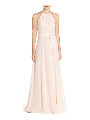 Amsale 'delaney' belted a-line chiffon halter dress