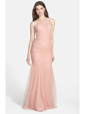 Amsale one-shoulder tulle mermaid gown