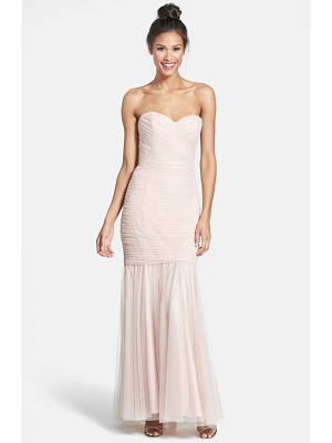 Amsale strapless tulle mermaid gown