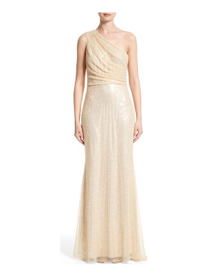 BADGLEY MISCHKA COUTURE Badgley Mischka Couture One Shoulder Beaded Mesh Gown