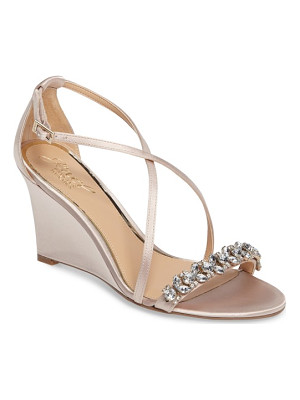 BADGLEY MISCHKA Embellished Strappy Wedge Sandal