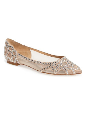 BADGLEY MISCHKA 'Gigi' Crystal Pointy Toe Flat