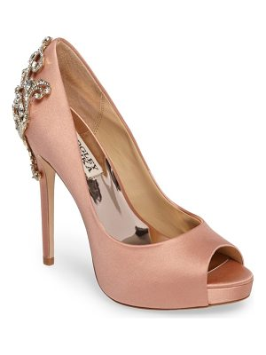 BADGLEY MISCHKA Karolina Embellished Peep Toe Pump