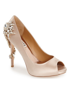 BADGLEY MISCHKA 'Royal' Crystal Embellished Peeptoe Pump