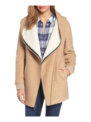BCBGeneration asymmetrical hooded wool blend coat