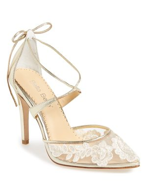 BELLA BELLE anita illusion lace cross strap pump