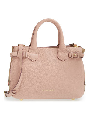 BURBERRY 'Small Banner' House Check Leather Tote