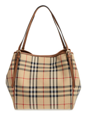 Burberry small canter check & leather tote