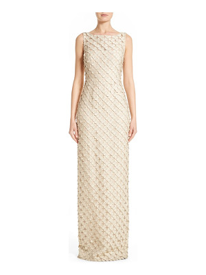 CARMEN MARC VALVO COUTURE Circle Applique Sleeveless Column Gown