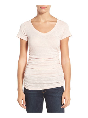 CASLON Caslon Shirred V-Neck Tee
