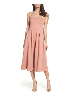 CHARLES HENRY Strapless Midi Dress