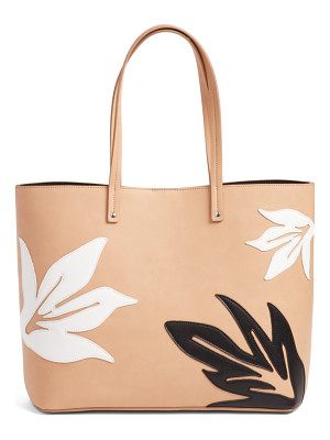 CHELSEA28 Tropical Applique Faux Leather Tote