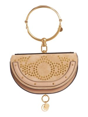 Chloe small nile studded suede & leather convertible bag