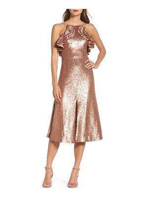 C/MEO COLLECTIVE Illuminated Sequin Ruffle Midi Dress
