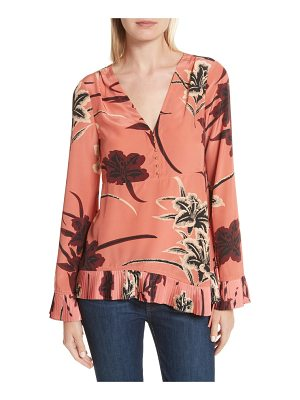 DEREK LAM 10 CROSBY v-neck pleated hem silk blouse