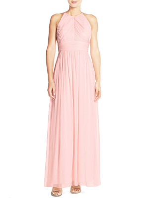 Dessy Collection ruched chiffon open back halter gown