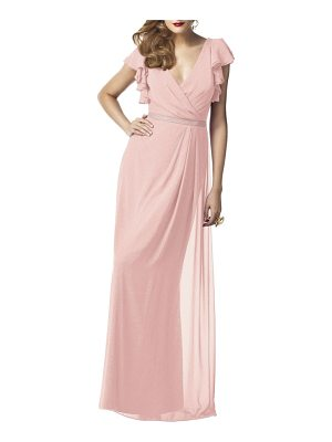 Dessy Collection sequin flutter sleeve gown