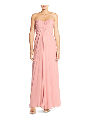 Dessy Collection sweetheart neck strapless chiffon gown