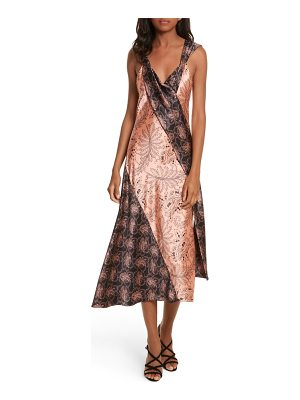 DIANE VON FURSTENBERG Draped Mixed Floral Midi Dress