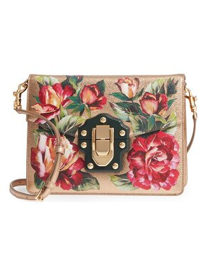 DOLCE & GABBANA Small Lucia Floral Metallic Leather Crossbody Bag
