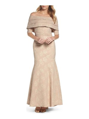 ELIZA J Brocade Off The Shoulder Trumpet Gown