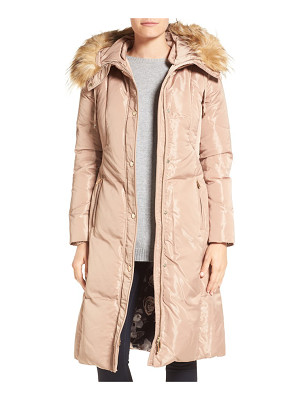 Eliza J faux fur trim hooded long down coat