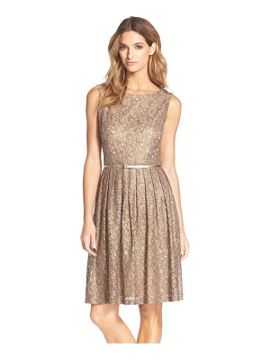 ELLEN TRACY Pleated Lace Fit & Flare Dress