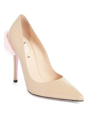 Fendi duo pointy toe pump with genuine mink trim