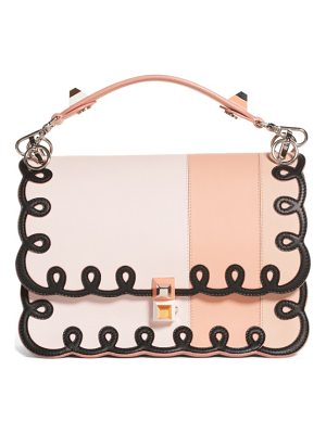 Fendi kan i scalloped stripe leather shoulder bag