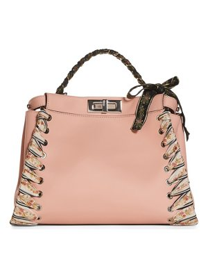 FENDI Medium Peekaboo Whipstitched Leather Satchel