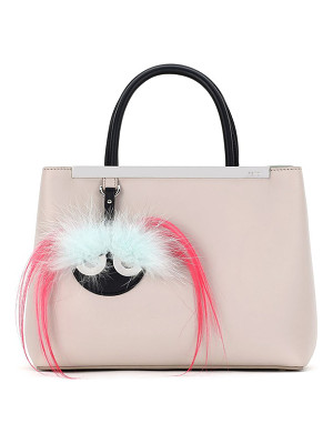 FENDI 'Petite 2jours' Bicolor Leather Shopper With Genuine Fox & Kidassia Fur Monster Charm