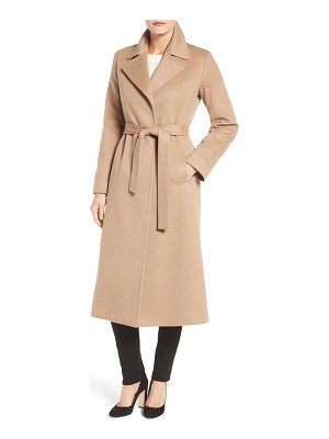 FLEURETTE Notch Collar Long Cashmere Wrap Coat