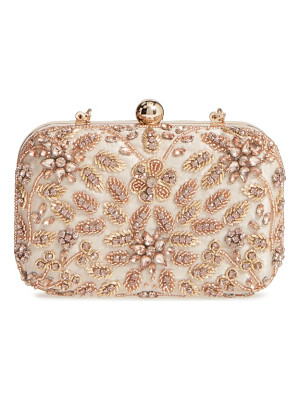 Glint beaded floral spray minaudiere