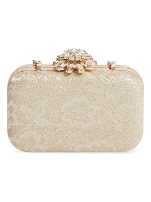 GLINT Crystal Flower Clasp Lace Minaudiere