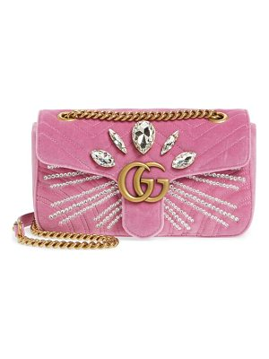 GUCCI Gg Marmont 2.0 Crystal Embellished Velvet Crossbody Bag