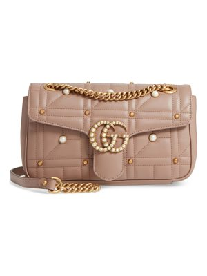 GUCCI Gg Marmont Matelasse Imitation Pearl Leather Shoulder Bag