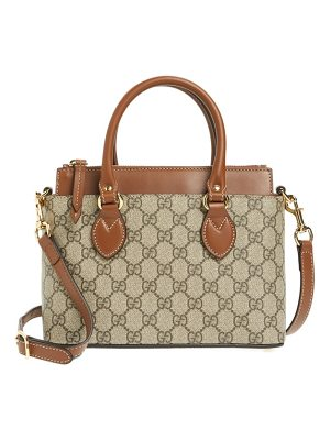 GUCCI Gg Mini Linea A Canvas & Leather Crossbody Tote