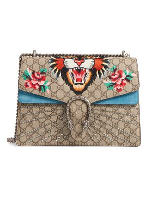 GUCCI Medium Angry Cat Gg Supreme Canvas & Suede Shoulder Bag
