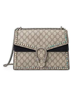GUCCI Medium Dionysus Crystal Embellished Gg Supreme Canvas & Suede Shoulder Bag