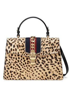 GUCCI Medium Sylvie Top Handle Genuine Calf Hair Shoulder Bag